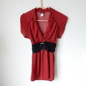 Red polka dot blouse top by Vanity